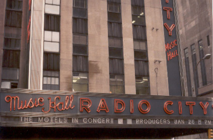[Motels at Radio City Music Hall, NYC]